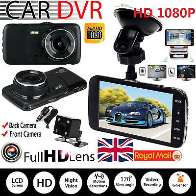 "1080P 3.5"" Dual Lens Car Dash Cam Front and Rear Camera Dashboard DVR Recorder"