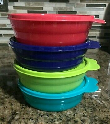 Tupperware Cereal Bowls ~ Microwave Reheatable ~ Set of 4 ~ New!!