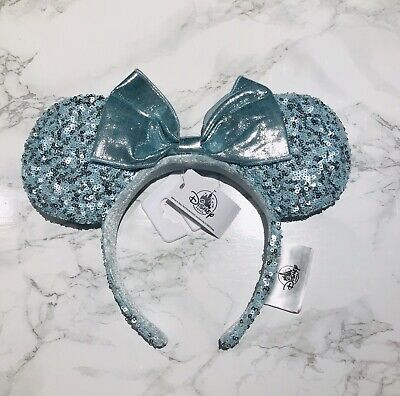 Disney Parks Frozen Arendelle Aqua Minnie Mouse Ears Sequin Headband NEW