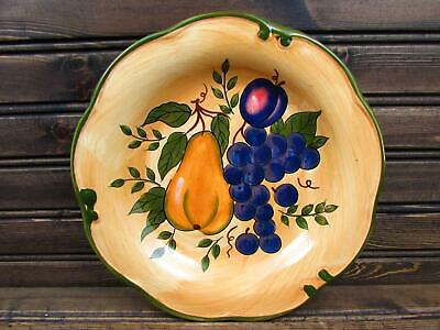 Granada by Home Trends Salad Plate Various Fruit On Yellow Green Band & Trim b46