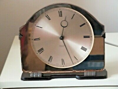 VINTAGE 1930's ART DECO SMITHS SECTRIC /ELECTRIC PEACH MIRROR MANTEL CLOCK. FWO.
