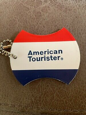 Vintage American Tourister Luggage Suitcase I.D. Tag Red White Blue Vinyl Travel