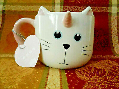 10 Strawberry Street Whimsical Cupboard Caticorn 16oz Pink/White Mug NEW!