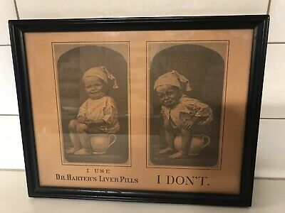 Dr Harters Liver Pills Antique Advertisement Framed Wall Hanging Vintage