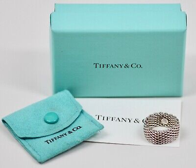 Vintage TIFFANY & CO Somerset Mesh Wide Band Ring 925 Sterling Silver size 5.5