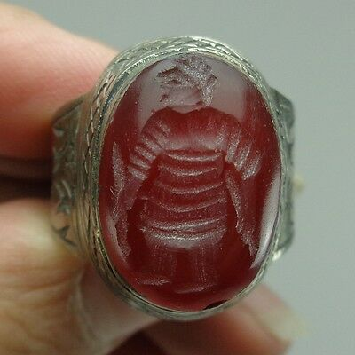 Silver Ring Old Stone Agate Face  intaglio Unique Art Ancient warrior Running