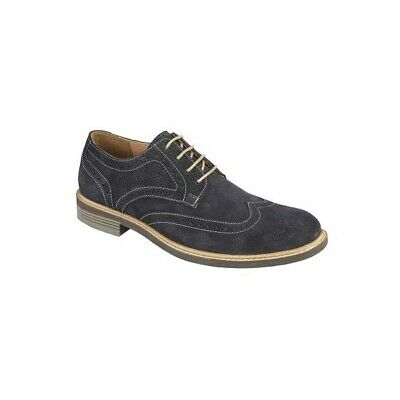 Roamers FLOYD Mens Genuine Suede Contrast Lace Up Brogue Oxford Shoes Navy