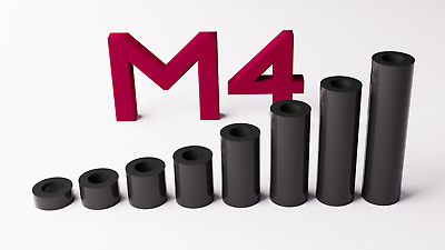 M4 Black Plastic Spacers Standoff Washer Nylon 3mm to 30mm Choice of Quantity.