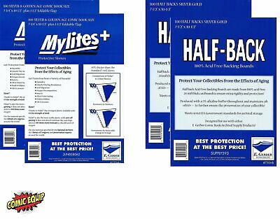 200 Mylites+ SILVER/GOLD Mylar Bags & Half Back Board COMBO 775M+/750HB E.Gerber