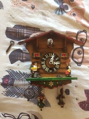 Wooden Wind Up Cuckoo Clock With Key - Swinging Man & Lady - Vintage & Rare