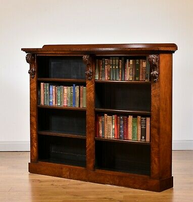 ANTIQUE MID-VICTORIAN WALNUT OPEN BOOKCASE Circa 1860