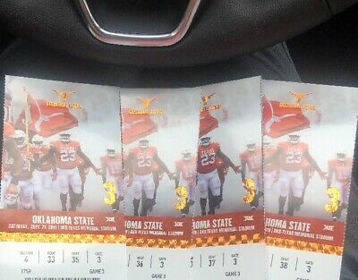 4 E TICKETS!! Longhorns vs Oklahoma State Tickets 9/21/19! 45-50 Yard Line