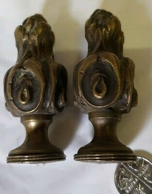 CAST BRASS CURTAIN POLE ENDS C1920s OLD VINTAGE ORNATE  62x26mm  FRENCH FINIALS