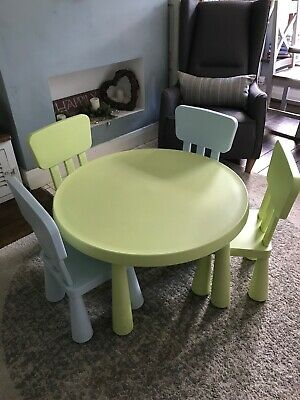 Ikea Mammut Childrens Round Table And Four Chairs