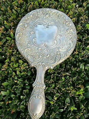 """Heavy Vintage Antique Silver Plated Ornate Vanity Hand Mirror 9 1/2"""" long"""