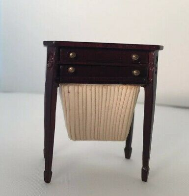 Dollhouse Miniature Mahogany Vintage Look Sewing Table Accessories Bespaq