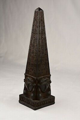 Lovely Ancient Egyptian Hand Carved Black Obelisk Statue with Hieroglyphs  9.6""