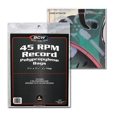 100 BCW 45 RPM Record BAGS - Outer Sleeve - Poly Plastic with Flap