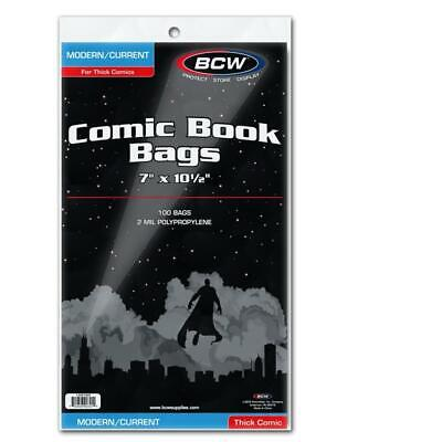 300 Bcw Current Thick Modern Age Comic Book 2 Mil Acid Free Archival Poly Bags