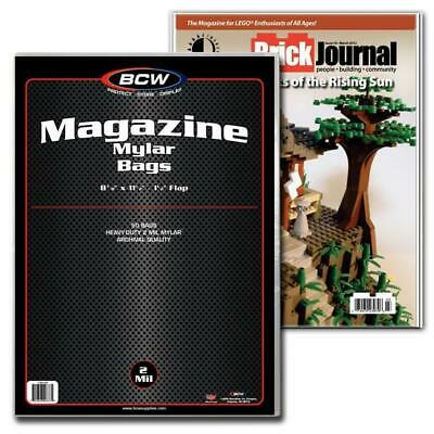 100 Bcw Magazine Size 2 Mil Mylar Bags Archival Acid Free Soft Covers