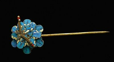 1900's Chinese Kingfisher Feather Hair Hat Pin Hairpin Flower Butterfly