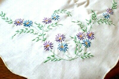 White Tablecloth Embroidered Blue & Lavender Floral Rectangular