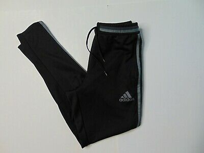 Adidas Men's Small Black Jogger Track Pants Gray Striped Slim Athletic Workout