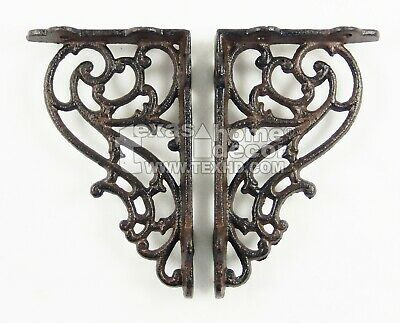 2 Small Shelf Brackets Scrolls Cast Iron Brace Antique Style 5 1/4 x 3 1/4 inch