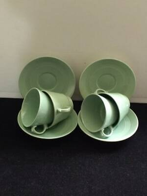 Wood's Ware Beryl 4 small tea cups and saucers WW2/ utility ware