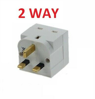 2Way Socket Household Multi Plug Fused Adapter Uk Mains 13Amp 240V Ac 2 Socket