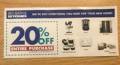 Bed Bath & Beyond 20% Off Entire Purchase In-Store or Online Coupon Exp 10-1-19