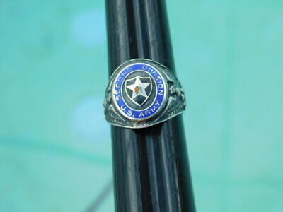 Vintage Sterling Silver US Army Ring 2nd Division Infantry WWII Korean War Biker