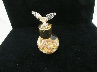 Gold Plated Leaf Flake Vial with Eagle Top