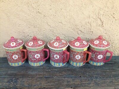 Set Of 5 Longevity Vintage Chinese Mun Shou Pottery Coffee / Tea Mugs With Lids