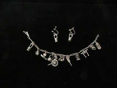 Antique Hand Made Silver Japanese Charm Bracelet With Matching Earrings