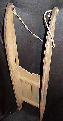 Antique 19th C. Child's Wooden Sled Wrought Iron Runner Primitive 1800s