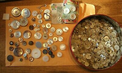 2 lbs. Pounds Large Lot of antique/vintage MOP Mother of Pearl Buttons variety
