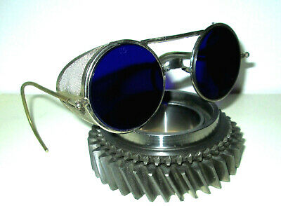 Antique Cobalt Blue Willson Sunglasses Mesh Goggles Spectacles Vintage Halloween