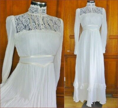 Vtg 70s GUNNE SAX Gauze Cotton White Lace Prairie Wedding Boho Party Maxi DRESS
