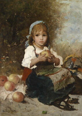 Dream-art hand painted Oil painting lovely and cute little girl with apple fruit