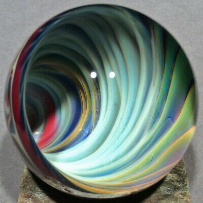 """Vortex Art Glass Marble by Bill Grout 1.90"""" Candy Mixer 091819f Boro Glass"""