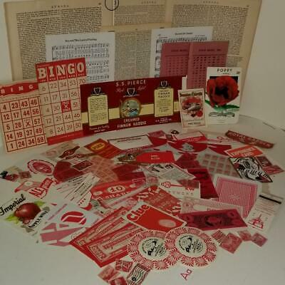 75 red pieces vintage ephemera paper pack variety lot tickets stamps labels A