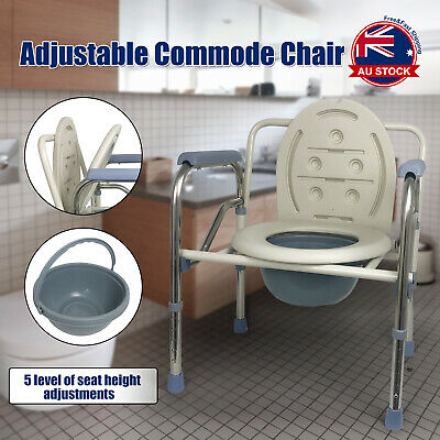 Commode Shower Chair Bedside Bathroom Potty Chair Seat Adjustable Height C