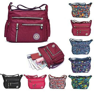 Waterproof Ladies Multi Pocket Nylon Bag Casual Crossbody Handbag Shoulder Purse