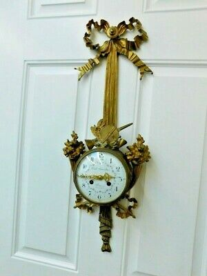 19Th Century Louis Xvi Style Gilt Hanging Wall Clock Charpentier French Gravelin