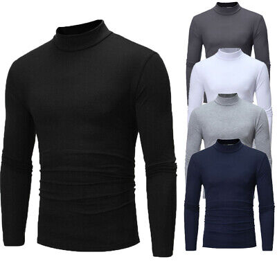 Mens Slim Fit Muscle Shirts Long Sleeve Casual Turtle Neck T-shirt Tops Blouse