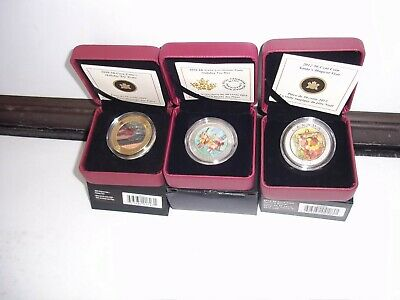 3 Rcm Canada 50 Cent Coins In Box 2009 Holiday Train 2012 Santas Secret 2015 Toy