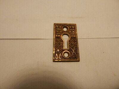 Antique Door Lock Key Hole Escutcheon Brass Eastlake  (KH 42A).