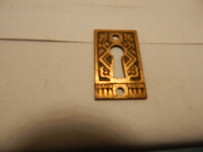 Antique Door Lock Key Hole Escutcheon Brass Eastlake (KH 44).