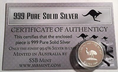 Emu 1/10th Oz 999.0 Pure Solid Silver Coin, with C.O.A. (14 to Collect) Invest